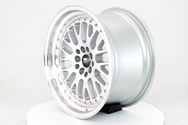 MT10 - Silver w/ Machined Face and Chrome/Gold Rivets - 17x9.0 5x100/5x114.3 Offset +20