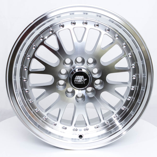 MT10 - Silver w/Machined Face and Chrome/Gold Rivets - 15X7.0 5x100/5x114.3 Offset +20