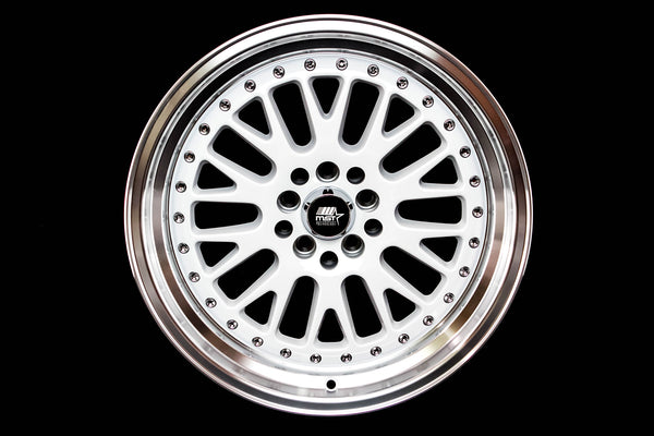 MT10 - White w/ Machined Lip and Chrome/Gold Rivets - 17x9.0 5x100/5x114.3 Offset +20