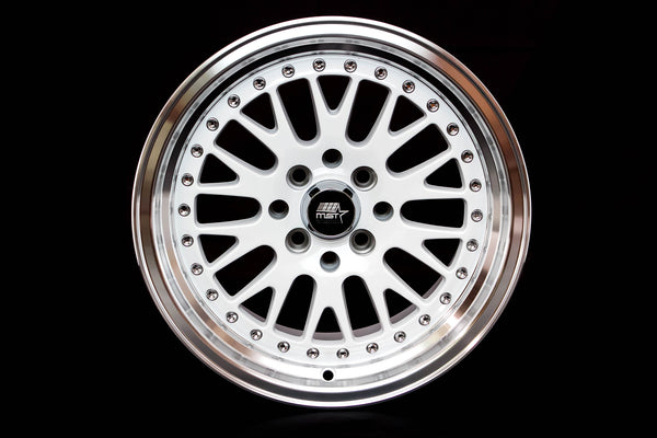 MT10 - White w/ Machined Lip and Chrome/Gold Rivets - 15x8.0 4x100/4x114.3 Offset +25