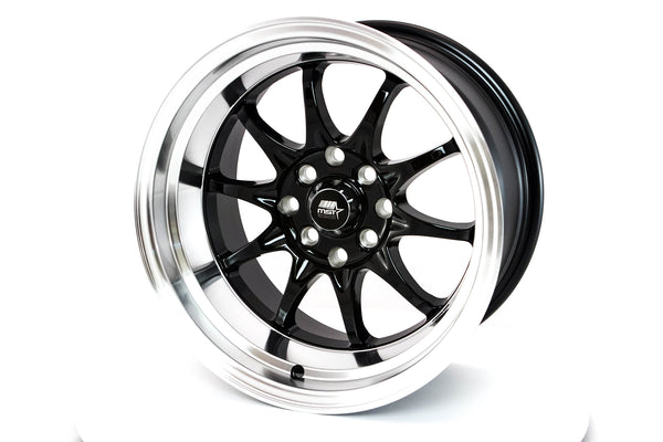 MT11 - Black w/ Machined Lip - 15x8.0 4x100/4x114.3 Offset +0