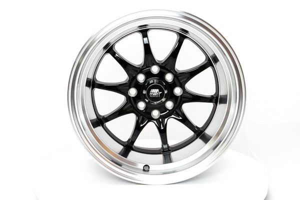 MT11 - Black w/Machined Lip - 15x9.0 4x100/4x114.3 Offset +0