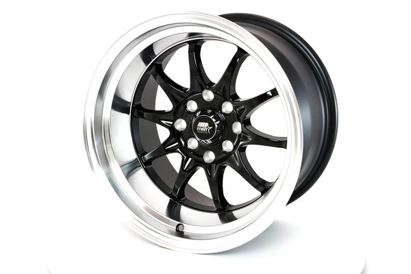 MT11 - Black w/ Machined Lip - 15x9.0 4x100/4x114.3 Offset +0