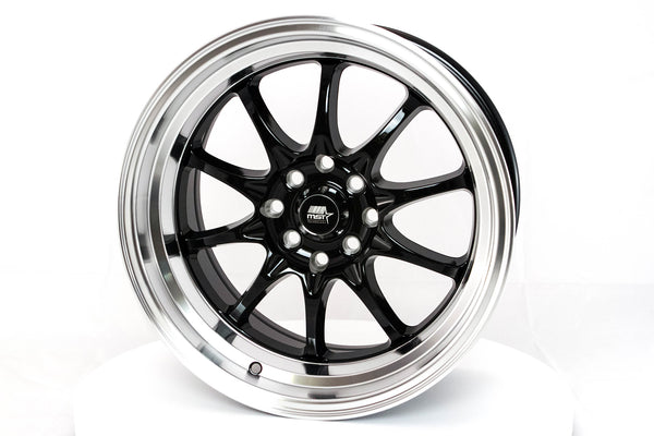 MT11 - Black w/ Machine Lip - 16x8.0 4x100/4x114.3 Offset +15