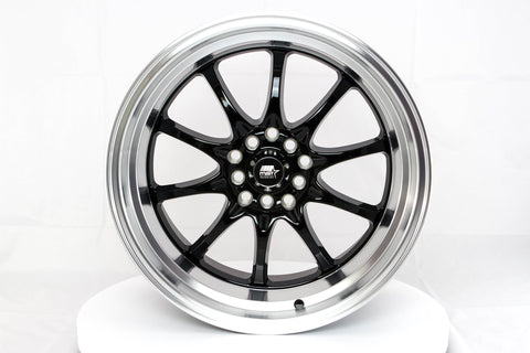 MT11 - Black w/Machine Lip - 17x9.0 5x100/5x114.3 Offset +20
