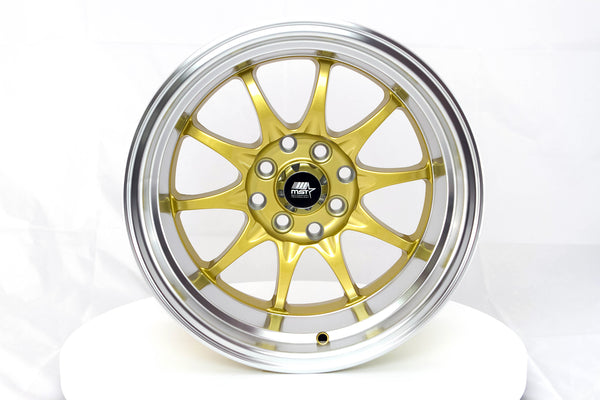 MT11 - Gold w/Machined Lip - 15x8.0 4x100/4x114.3 Offset +0