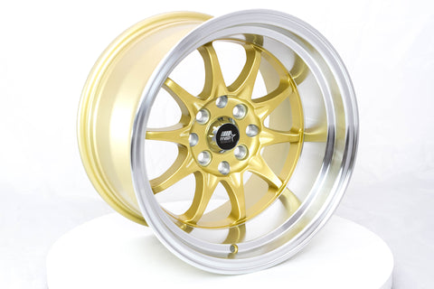 MT11 - Gold w/Machined Lip - 15x9.0 4x100/4x114.3 Offset +0