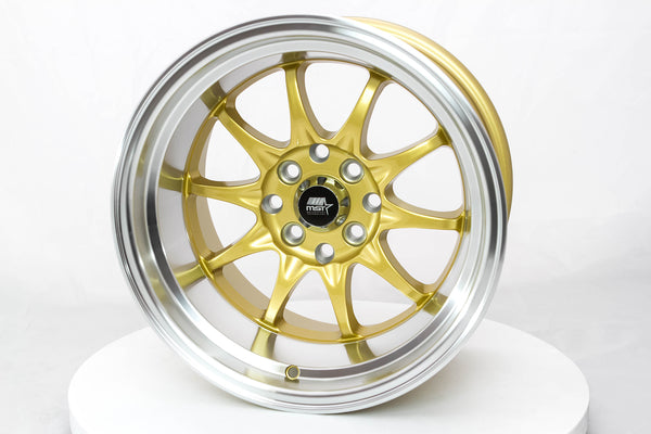 MT11 - Gold w/ Machined Lip - 15x9.0 4x100/4x114.3 Offset +0