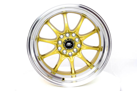 MT11 - Gold w/ Machined Lip - 16x8.0 5x100/5x114.3 Offset +15