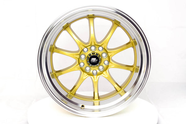 MT11 - Gold w/Machined Lip - 17x9.0 5x100/5x114.3 Offset +20