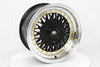MT13 - Black w/Machined Lip Gold Rivets - 15x8.0 4x100/4x108 Offset +20