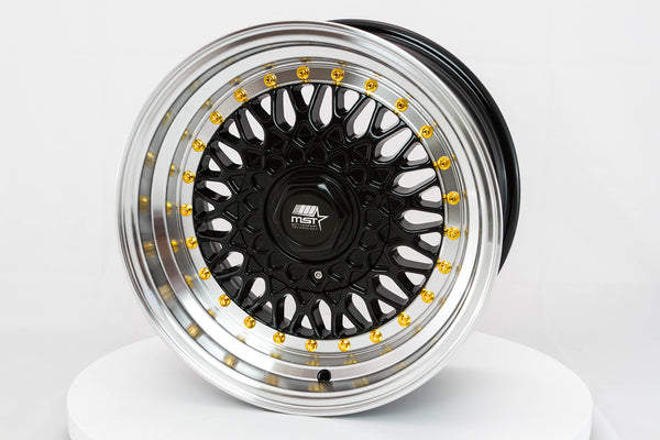 MT13 - Black w/ Machined Lip and Gold Rivets - 15x8.0 4x100/4x108 Offset +20