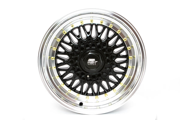 MT13 - Black w/Machined Lip Gold Rivets - 16x8.0 5x100/5x114.3 Offset +20