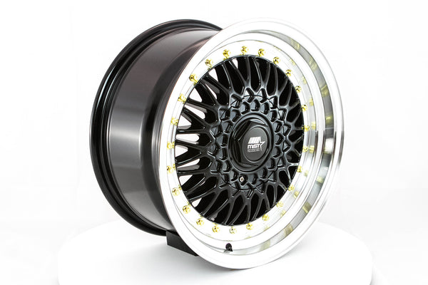 MT13 - Black w/ Machined Lip and Gold Rivets - 16x8.0 5x100/5x114.3 Offset +20