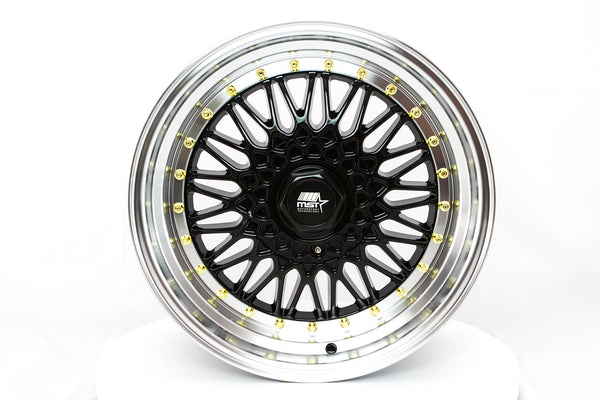 MT13 - Black w/ Machined Lip and Gold Rivets - 17x8.5 5x100/5x114.3 Offset +35