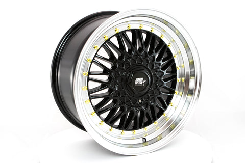 MT13 - Black w/Machined Lip Gold Rivets - 17x8.5 4x100/4x114.3 Offset +35