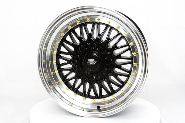 MT13 - Black w/ Machined Lip and Gold Rivets - 17x8.5 4x100/4x114.3 Offset +35