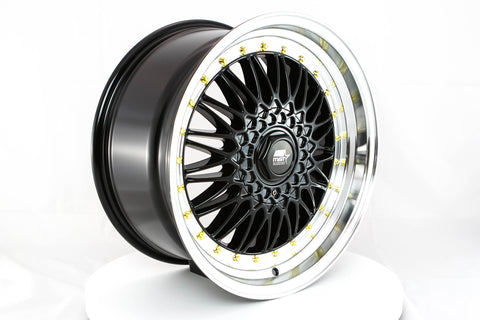 MT13 - Black w/ Machined Lip and Gold Rivets - 18x9.0 5x100/5x114.3 Offset +35