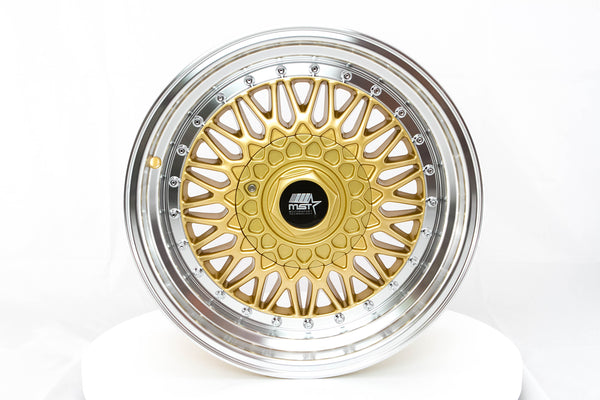 MT13 - Gold w/ Machined Lip and Chrome Rivets - 16x8.0 5x100/5x114.3 Offset +20