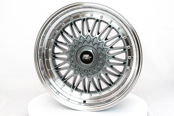 MT13 - Gunmetal w/ Machined Lip and Chrome Rivets - 18x9.0 5x100/5x114.3 Offset +35