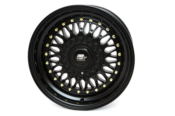 MT13 - Matte Black w/Gold Rivets - 15x8.0 4x100/4x108 Offset +20