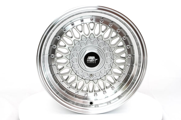 MT13 - Silver w/ Machined Lip and Chrome Rivets - 15x8.0 4x100/4x114.3 Offset +20