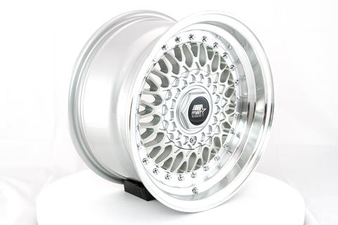 MT13 - Silver w/Machined Lip - 15x8.0 4x100/4x114.3 Offset +20