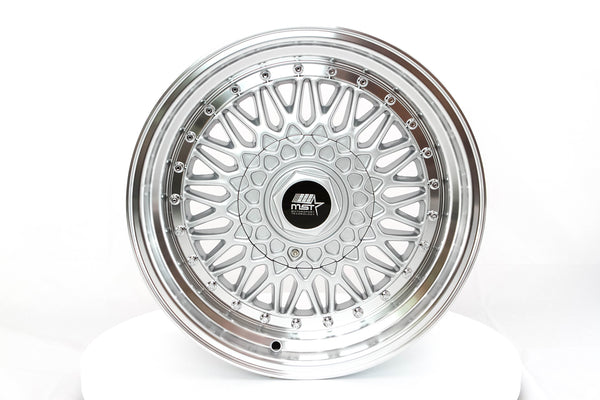 MT13 - Silver w/ Machined Lip and Chrome Rivets - 16x8.0 5x100/5x114.3 Offset +20