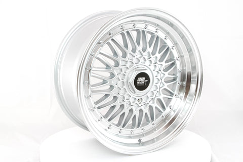 MT13 - Silver w/ Machined Lip and Chrome Rivets - 17x8.5 4x100/4x114.3 Offset +35