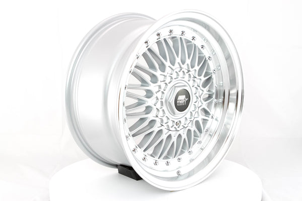 MT13 - Silver w/ Machined Lip and Chrome Rivets - 17x8.5 5x100/5x114.3 Offset +35