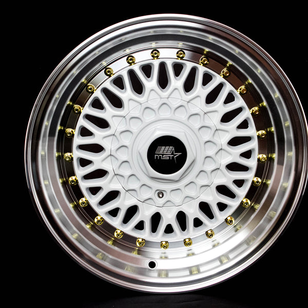 MT13 - White w/Machined Lip Gold Rivets - 15x8.0 4x100/4x114.3 Offset +20