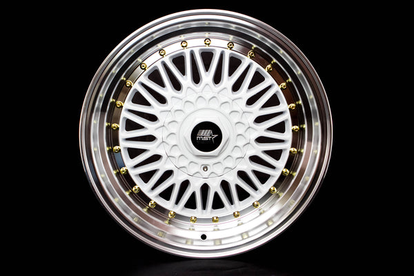 MT13 - White w/ Machined Lip and Gold Rivets - 17x8.5 5x100/5x114.3 Offset +35