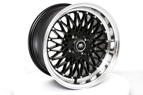 MT16 - Black w/ Machined Lip - 15x8.0 4x100 Offset +20