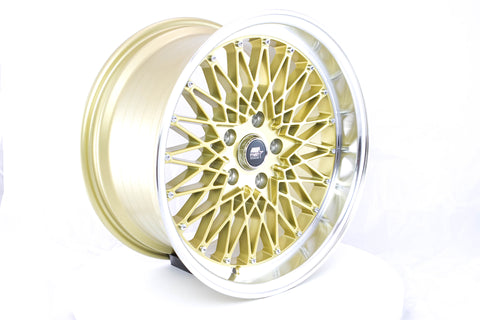 MT16 - Gold w/ Machined Lip - 17x9.0 5x114.3 Offset +20