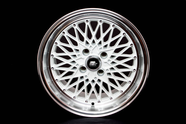 MT16 - White w/Machined Lip - 15x8.0 4x100 Offset +20