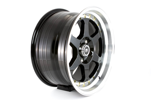 MT35 - Black w/ Machined Lip and Gold Rivets - 17x8.5 5X114.3 Offset +20