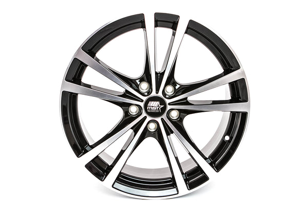 Saber - Glossy Black w/Machined Face - 17x7.0 5x100 Offset +45