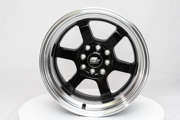 Time Attack - Black w/ Machined Lip - 15x8.0 4x100/4x114.3 Offset +0