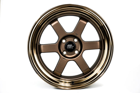 Time Attack - Matte Bronze w/Bronze Machined Lip - 17x9.0 4x100 Offset 20