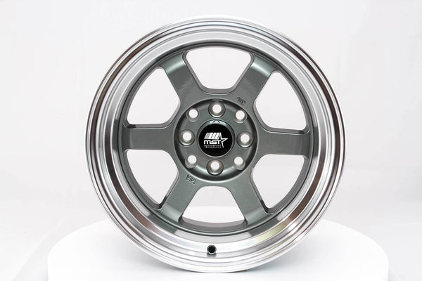 Time Attack - Gunmetal w/ Machined Lip - 15x8.0 4x100/4x114.3 Offset +0
