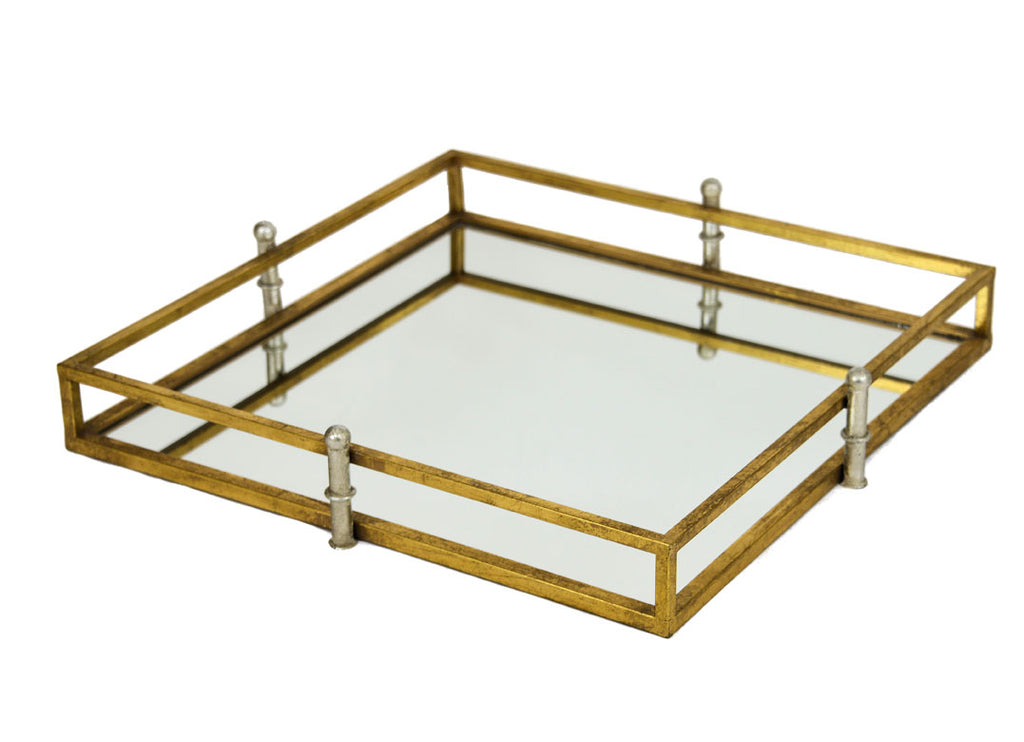 Square Gold & Silver Mirrored Tray