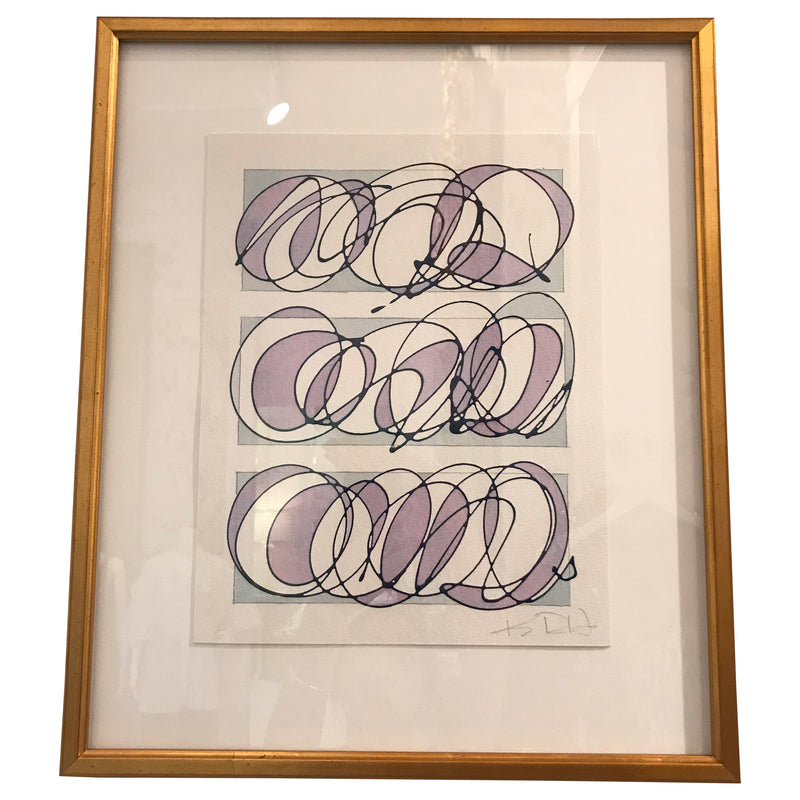 Blue and Lavender Gold Framed Abstract by Kayce Hughes