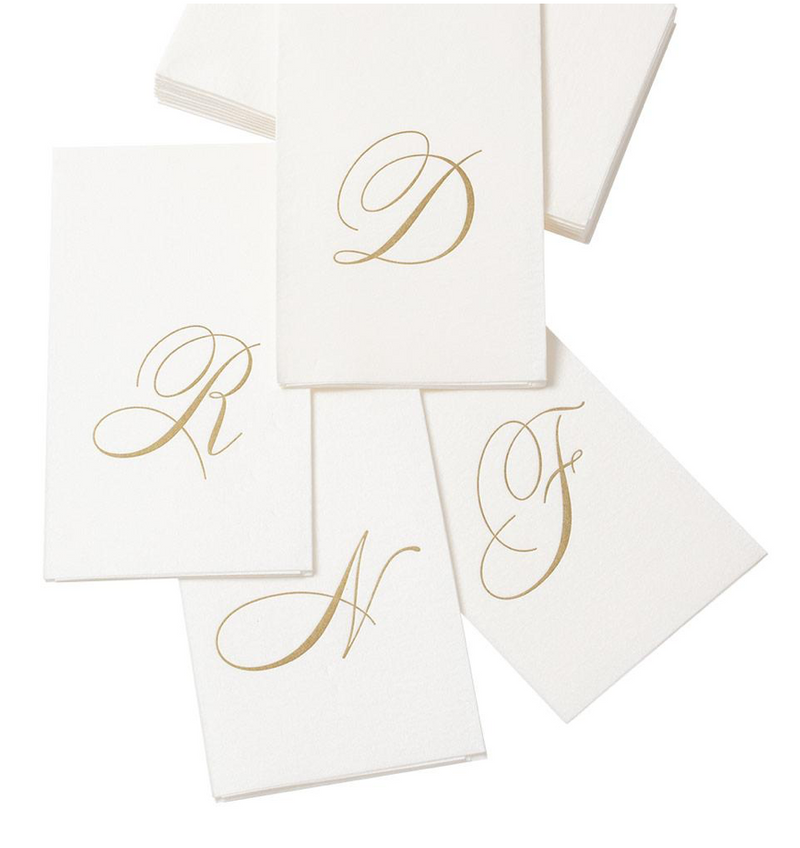White Pearl and Gold Paper Linen Single Initial Guest Towel