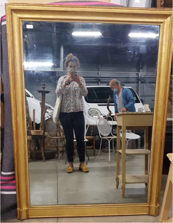 1920s Gilt Rectangular Louis Philippe Mirror