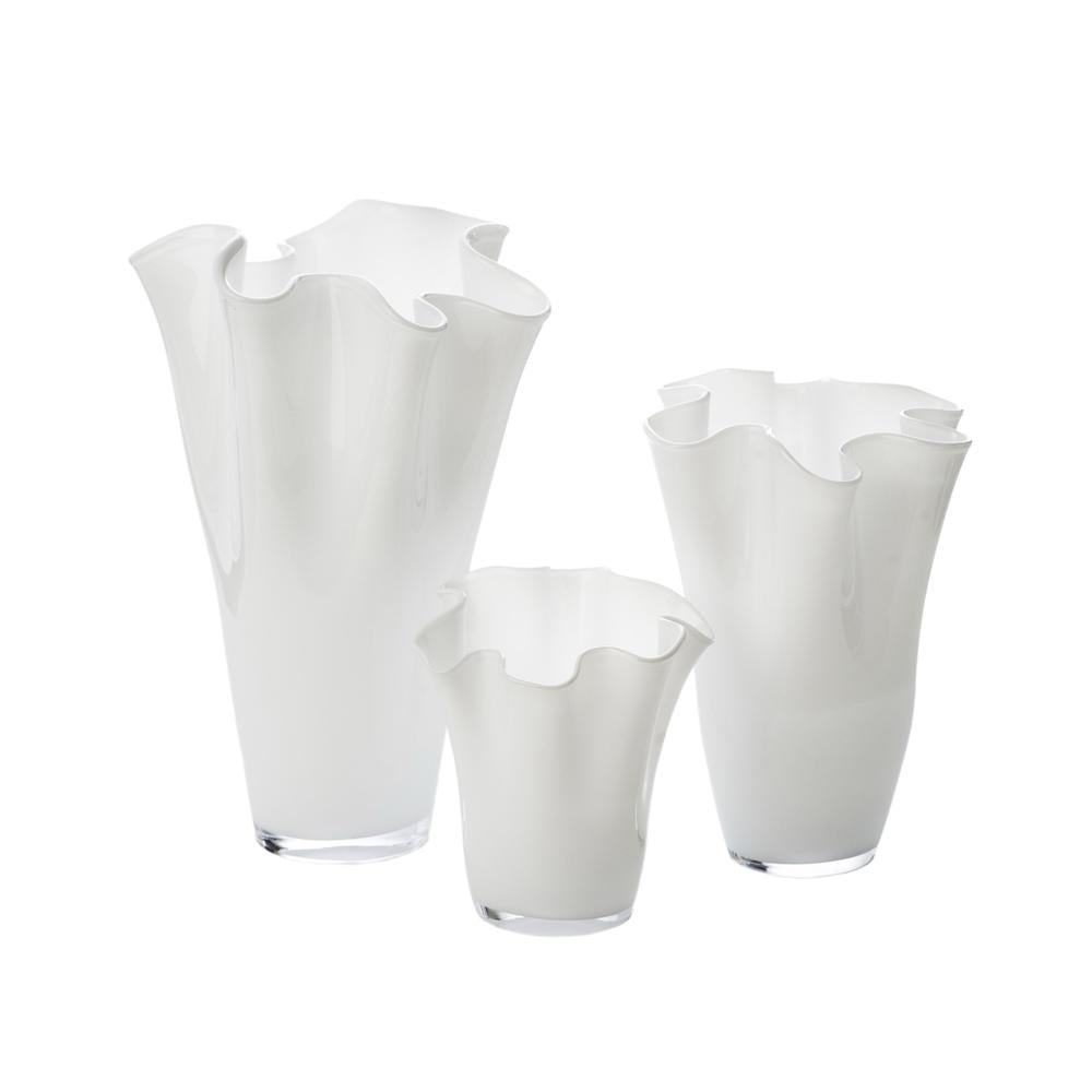 White Ruffle Vase, Large