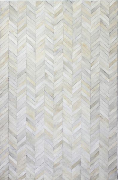 White Chevron Cowhide Rug