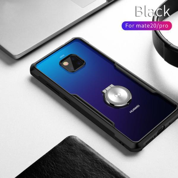 Shockproof Airbags Finger Ring Phone Case Transparent Silicone Protective Case for Huawei Mate 20/ Mate 20 Pro