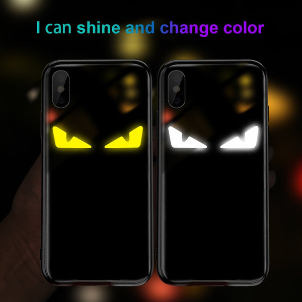 LED LIGHT ILLUMINATED Devil Eye Tempered Glass Phone Case For iphone X/XS/XR/XS Max/7/8/7 Plus/8 Plus