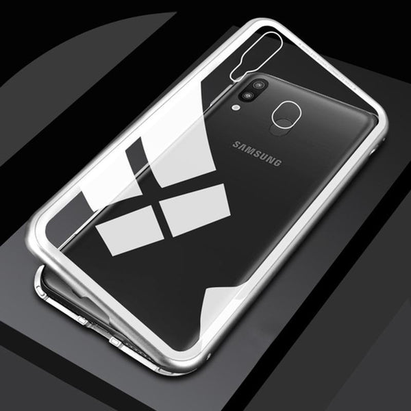 (Buy 2 get Free shipping and 10% OFF!)Luxury Hard Magnetic Metal Aluminum Alloy Transparent Glass Armor Protect Phone Case for Samsung M10 M20