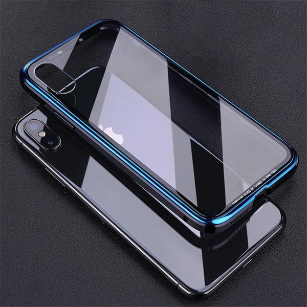 Metal Bumper Case for Iphone X Luxury Plating Frame Hard Clear Tempered Glass Mirror 360 Thin Back Cover for iPhone X/XS/7/8/7P/8P